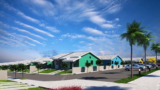 Condomínio com portal de entrada  com toda segurança, composto por 265 casas térreas,geminadas duas a duas distribuídas em 8 quadras.